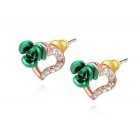 Low price jewelry earrings selling models discounted high-quality products in Europe and the US market rose green crystal peach heart shape earrings