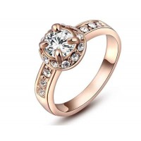 Low price discount jewelry jewelry European market and the US market rose quartz ring gold four-claw style