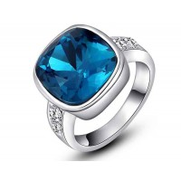 Low price discount jewelry jewelry European market and the US market platinum crystal blue rounded square ring