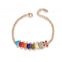 Low price hot new style jewelry alloy jewelry discount quality products rose golden bracelet caterpillar style fast delivery