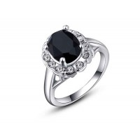 Low price selling models jewelry jewelry discount quality products and the European market, US market crystal platinum black diamond ring