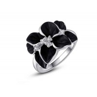 Low price discount jewelry selling models in Europe and the US market rose petals black crystal platinum ring shape