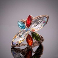 Low-price products retro personality gem diamonds inlaid flower shape rings in Europe and the US market ring handmade jewelry