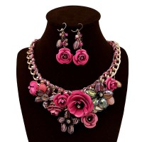 European market and the US market weave flower shape crystal earrings exaggerated necklace Ms. clavicle chain necklace sets limit discounts