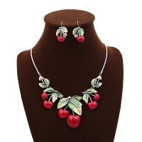 European markets and the US markets lower price hot selling jewelry fashion red cherry resin necklace earring sets low prices Ladies Accessories
