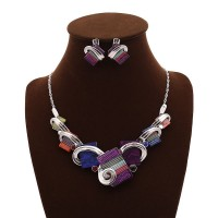 Hot sales Jewelry Sets European market and the US market color color modern fashion Necklace Resin Kits