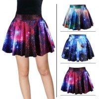Hot sales Womens Sky digital printing pattern pattern fashion sexy high waist skirt princess dress Fast delivery