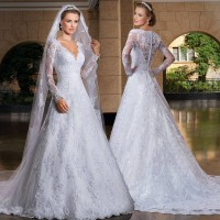 High-end price low price of new models of small noble and elegant long-sleeved lace collar long tail bride wedding