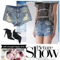 Hot sales retro summer loose wide leg denim shorts shorts hairy edge