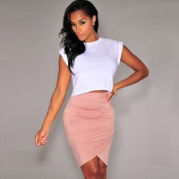 Ms. nightclub dress Europe station new models fold cross-waist dress sexy solid color feet pencil skirts 71071