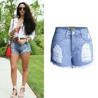 European market and the US market sales of hot summer wear hairy edge curling waist denim shorts shorts