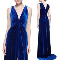 Lower selling prices of new models collar sexy slit French style long style evening dress party dress luxury