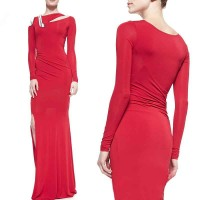 High-end dress sexy new styles straight lines shaped shoulder long sleeve sexy slit style long style show new style hot dress