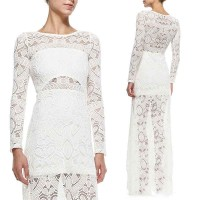Low price selling straight lines shaped shoulder draping long-sleeved white lace dress discount low price