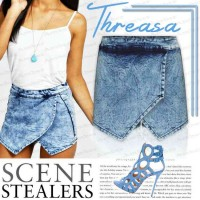 European market and the US market brand of cross-plied irregular fashion wide leg denim shorts culottes