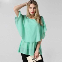 Stitching loose chiffon shirt summer new European style chiffon shirt stand fast shipping large size women Promotions