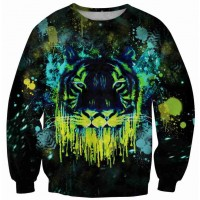 Hot sales Star pattern round neck sweater loose lovers simple digital printing abstract tiger 3D pattern sweater