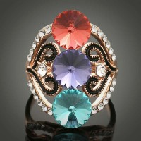 Hot Discount fashion jewelry inlaid vintage exaggerated color crystal gemstone rings hollow