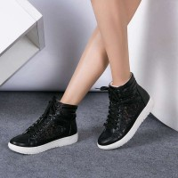 New models in Europe and the United States market popular fashion shoes high-top lace hollow round flat shoes Promotions