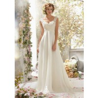 Hot sales long style white lace strap chiffon prom night quickly sell bridal gowns