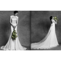 Discount Bridal wedding dress new style low-cut lace long tail long tail wedding dress can be customized for pregnant women