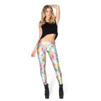 The new style of fashion style all match long leggings cartoon princess digital prints leggings slim pants Waichuan
