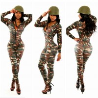European market and the US market sales of autumn and winter hot sexy nightclub Slim long-sleeved jumpsuit metal buckle bandage dress women