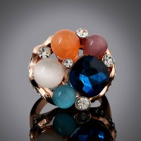 European market and the US market exaggerated fashion gorgeous colored stones inlaid flower shape diamond ring high quality ladies hand jewelry