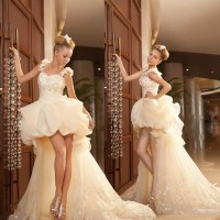 Low price elegant wedding Europe and the United States shoulder on both sides of the high-end market long tail Wedding sexy new style wedding dress