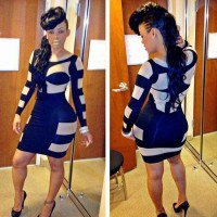 Excellent European market and the US market, international brands sold hot sexy sexy blue striped bandage dress nightclub