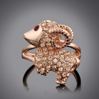 Popular lovely jewelry rose gold plated ring set with diamonds goat sheep zodiac animal year jewelry discount