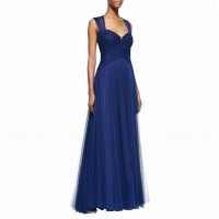 New style chiffon yarn on both sides of the shoulder evening gown sister group bride toast sexy evening dress Qi