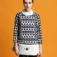 The new style irregular edges collar eye pattern embroidered long-sleeved dress stitching
