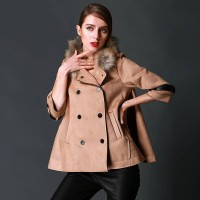 The new spring models in Europe and the United States market, Ms. raccoon fur collar coat ladies loose coat