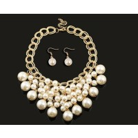Ms. clothing accessories temperament fashion simple pearl earrings fashion jewelry necklace piece suit