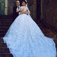 Wedding new style straight lines shaped shoulder lace long-sleeved waist Slim long tail luxury wedding