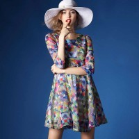 Promotions skirt flower chiffon dress summer new special style sleeves Slim slim A-line skirt