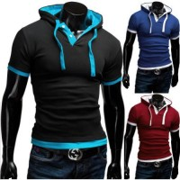Low price discounts hooded false two fashion design casual short-sleeved