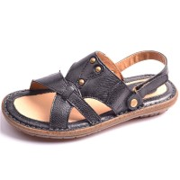 Summer new style leather men's casual shoes, sandals and slippers tide slippers beach shoes low price fast delivery men