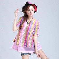 Spring and summer new style short-sleeved lace shirt European market and the US market, Ms. Rainbow soluble lace blouse shirt