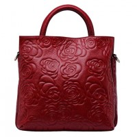 New winter leather leather ladies bag Rose pattern lady hand bag big bag