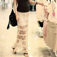 Summer new style beige waist thread space bohemian beachwear fashion dress skirt 41145