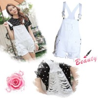 Europe and the United States market new models Ms. pure white loose overalls style piece shorts