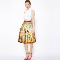 Europe and the United States market trends personalized mural prints Slim slim big skirt skirts sheds international brands