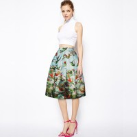 European market and the US market of international fashion brands popular retro print high waist skirt princess skirt put on a large A-shaped skirt umbrella Promotions