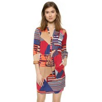 The new models sexy V-shaped geometric pattern abstract print casual shirt collar beach dress 41182