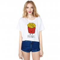 Hot selling 3D digital printing recreational fries half T-shirt all match short sleeve Blouse