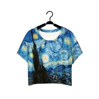 European market and the US market fashion hot selling Van Gogh oil painting digital printing personalized super all match style ladies lo shi short T-shirt