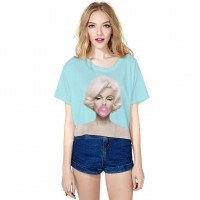 Hot selling 3D digital printing fresh classic loose T-shirt Half Fast delivery