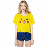 Hot sales Pikachu digital prints half sleeve T-shirt all match bottoming midriff Ms. fast delivery